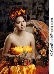 Luxury lady in silk dress