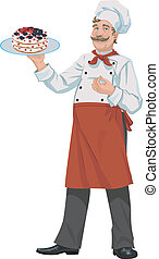 chef with cake - illustration of happy chef with appetizing...