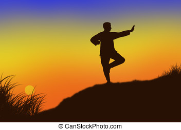 tai-chi - illustration, colorful sunset and the silhouette...