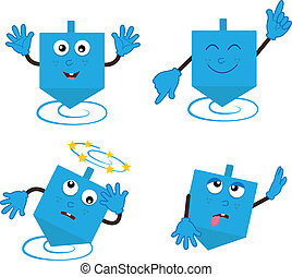 Dancing Dreidel - Cartoon Dreidel in four different...