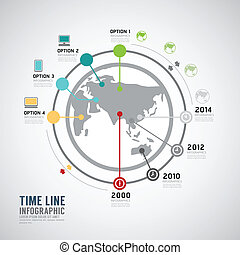 Timeline Infographic world vector design template