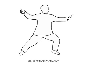 tai-chi - illustration, outlined man practicing tai-chi...
