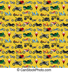 Motorcycles background, pattern Vector illustration
