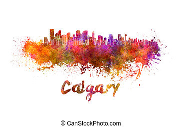 Calgary skyline in watercolor splatters with clipping path