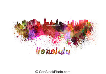 Honolulu skyline in watercolor splatters with clipping path