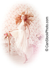 Young woman in lace dress with flying hair - A beautiful...