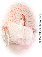 Young woman in vintage lace dress - A beautiful young woman...