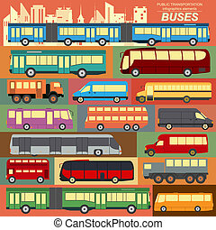 Public transportation buses set - Public transportation,...