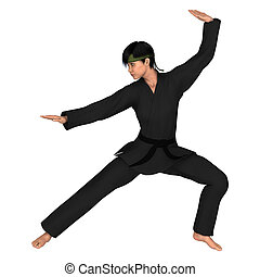 Martial Arts - 3D digital render of a young woman exercising...