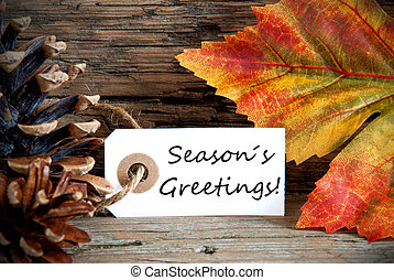 Label with Seasons Greetings, Fall Background