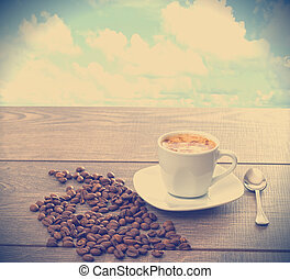 offee beans on wooden table