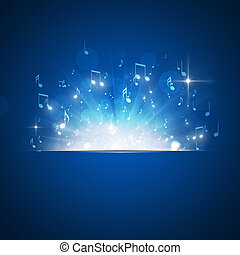 Music Notes Explosion Blue Background