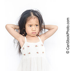 Portrait of unhappy little girl - Portrait of unhappy little...