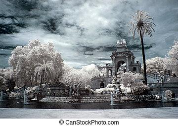 Fountain and cascade in park De la Ciutadella in Barcelona, Spai