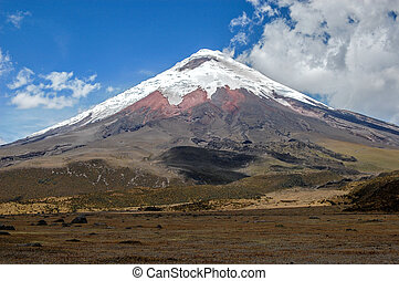 View of the majestic Cotopaxi volcano (highest active...