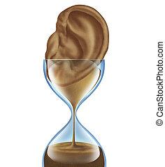 ouvindo, envelhecimento, perda