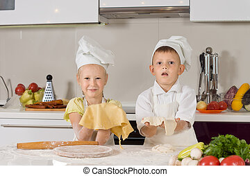 Adorable White Kids Making Foods for Snacks - Adorable White...