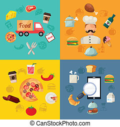 Vector Fast Food Pizza Delivery Icon Illustration