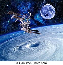 tierra, satélite, espacio, estrellas
