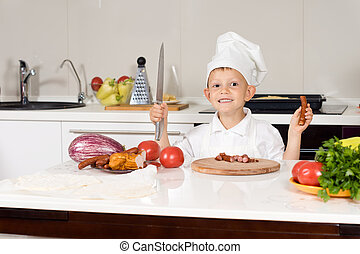 Happy Little Chef Chopping Ingredients