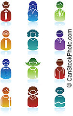 Business People Icon Set - Group of diverse types of people...