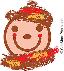 smiling face in warm colors - vector autumnal illustration...