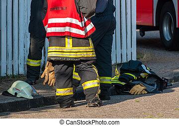 firemen after an operation