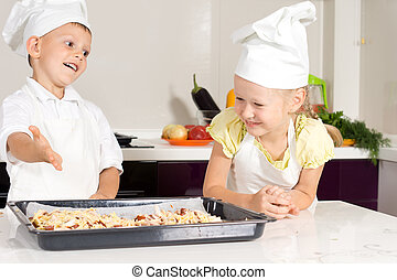 White Kids in Apron Made Pizza - White Kids in Apron Made...