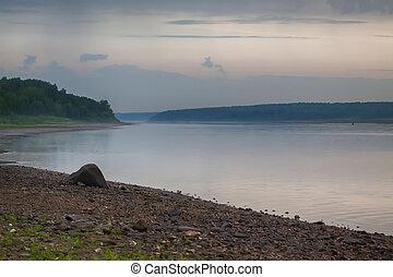 River Volga - Beautiful view of the river Volga, Russia, at...