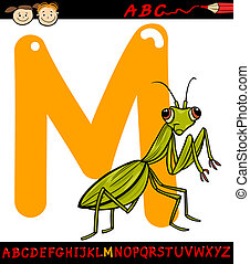 letter m for mantis cartoon illustration - Cartoon...