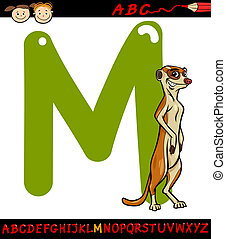 letter m for meerkat cartoon illustration - Cartoon...