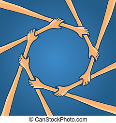 Circle of hands teamwork holding together