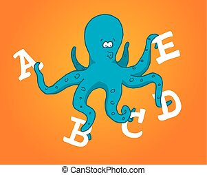 Multitasking octopus holding different letters - Cartoon...