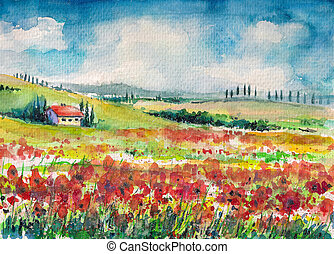 Tuscany - Landscape with colorful flowered field in Tuscany,...