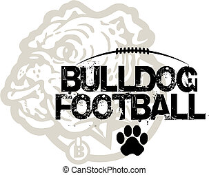 bulldog football with bulldog mascot in background