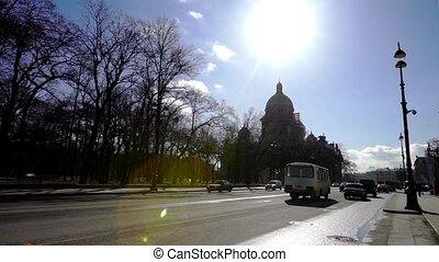 Day traffic near St Isaac Cathedral, Saint Petersburg -...