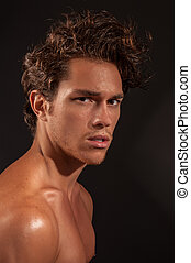 Young sexy male adult - Studio headshot of young sexy male...