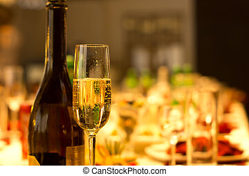 Flute of chilled sparkling champagne - Elegant tall flute of...