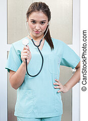 young doctor nurse with stethoscope