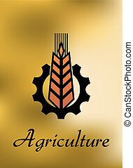 Agriculture emblem with gear and ear
