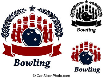 Bowling emblems with ball and ninepins - bowling emblems...