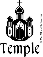 Religious temple or church icon - Black and white silhouette...
