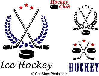 Ice hockey emblems and icons with puck, stars, stick and...