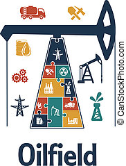 Energy and oil industry flat infographics design with oil...