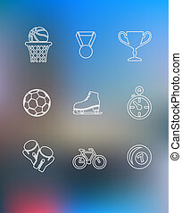 Sport icons set in outline style