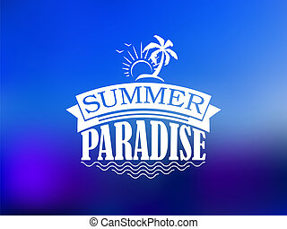 The Summer Paradise poster design with a sun, waves, palm,...
