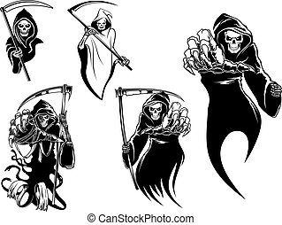 Death skeleton characters with and without scythe, suitable...