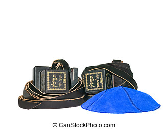Tefillin and blue suede kippa - Worn by Jewish men during...