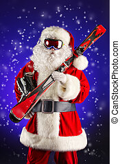 winter sports - Santa Claus is standing in the ski mask and...