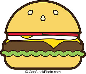 Fried Egg Hamburger Illustration - Fried egg hamburger...